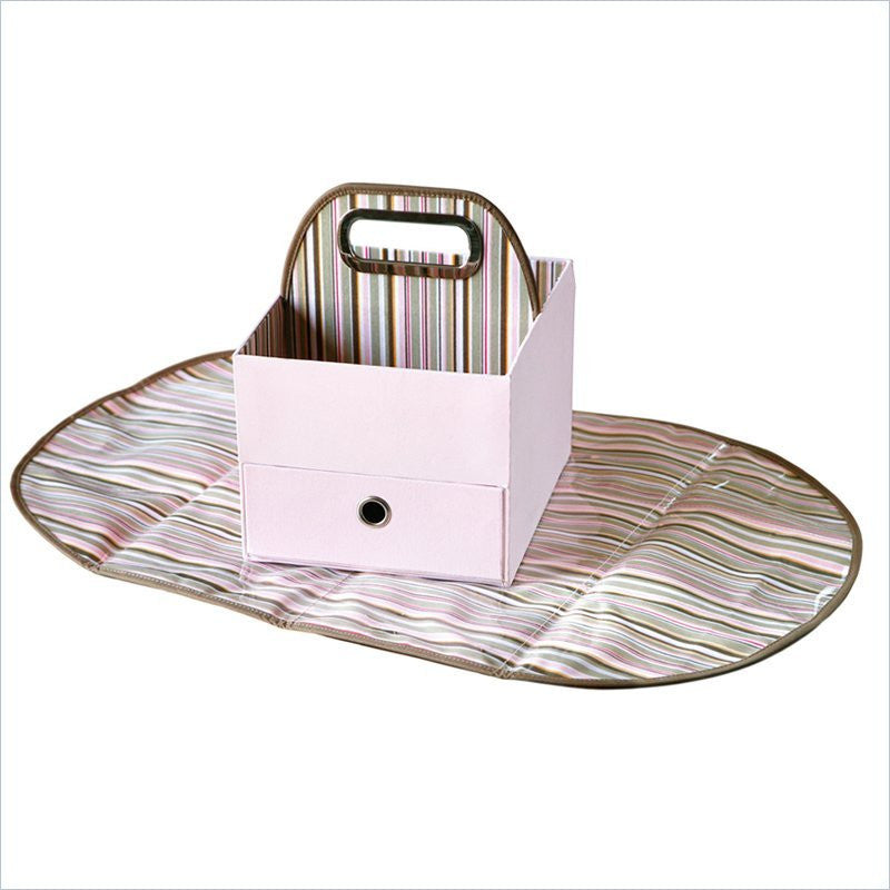 JJ Cole Diaper Caddy in Pink Stripe