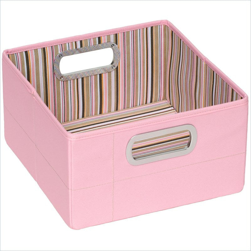 "JJ Cole 6.5"" Pink Stripe Storage Box"