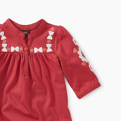 Tea Collection Embroidered Henley Dress in Pomegranate