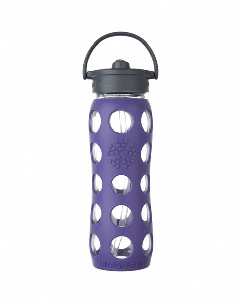 Lifefactory 22oz Flip Cap Glass Bottle in royal purple