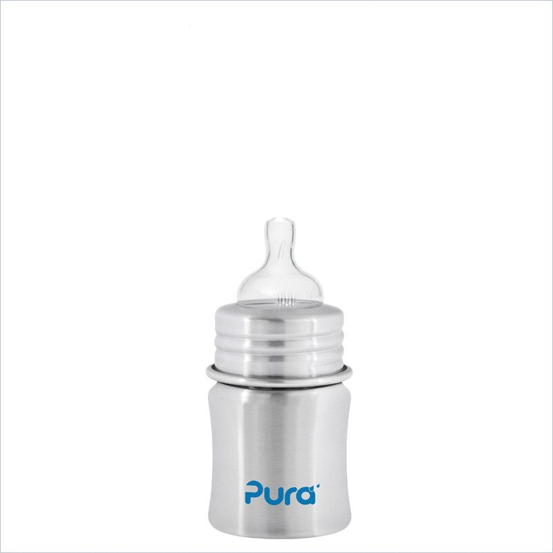 Pura Kiki Natural Stainless 5 oz. Slow Flow Baby Bottle