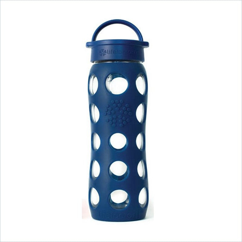 Lifefactory 22oz Glass Bottle w/ Silicone Sleeve in Midnight Blue