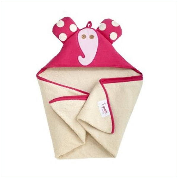 3 Sprouts Elfie the Elphant Hooded Towel in Pink