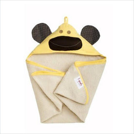 3 Sprouts Milo the Monkey Hooded Towel in Yellow