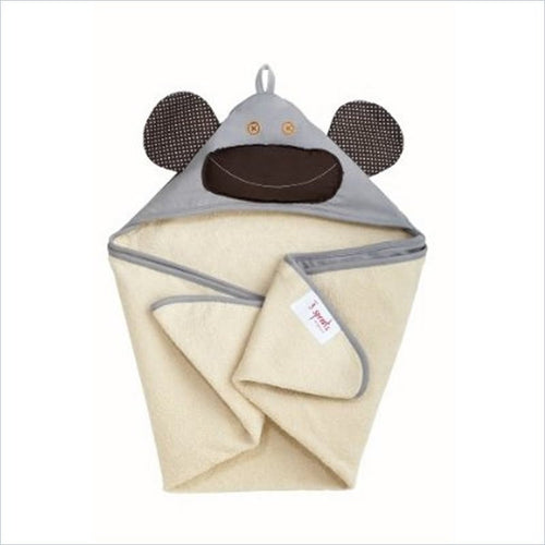 3 Sprouts Milo the Monkey Hooded Towel in Grey