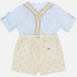Mayoral Shirt and bermuda shorts with braces set for newborn boy in Brown