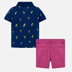 Mayoral Patterned polo shirt and bermuda shorts set for baby boy in Sweet pea