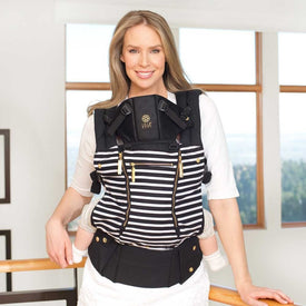 Lillebaby All Seasons Baby Carrier in Black of the Same Stripes with Gold