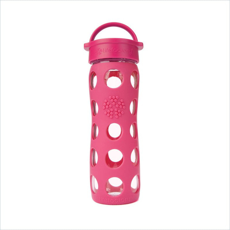 Lifefactory 16 oz Glass Beverage Bottle in Raspberry Pink
