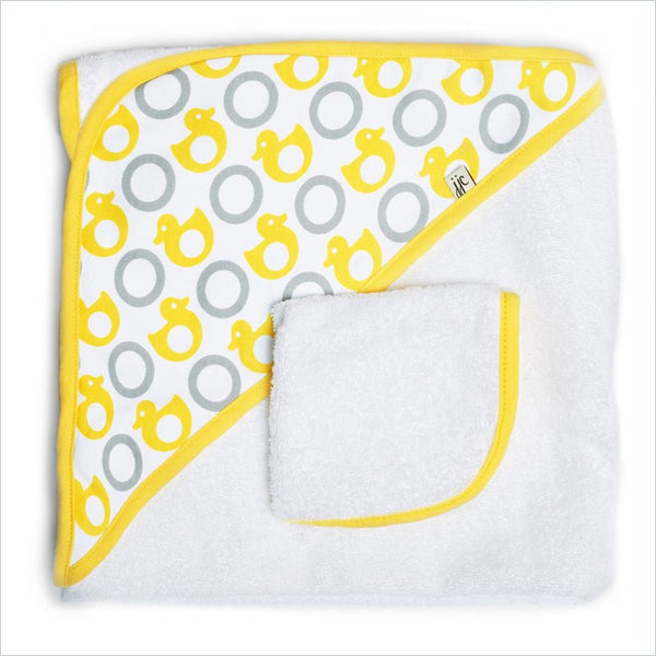 JJ Cole Hooded Towel in Yellow Ducks