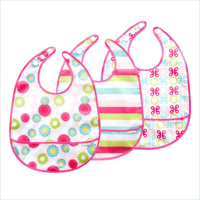 JJ Cole 3-Pack Girls Bib Set in Flowers Butterflies and Circles