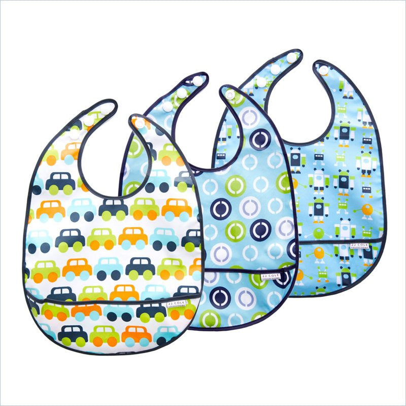 JJ Cole 3-Pack Boys Bib Set in Cars Circles and Robots