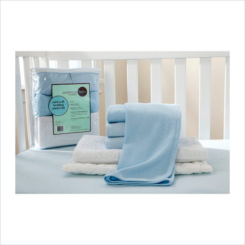 American Baby Company Mini Crib Starter Kit in Blue