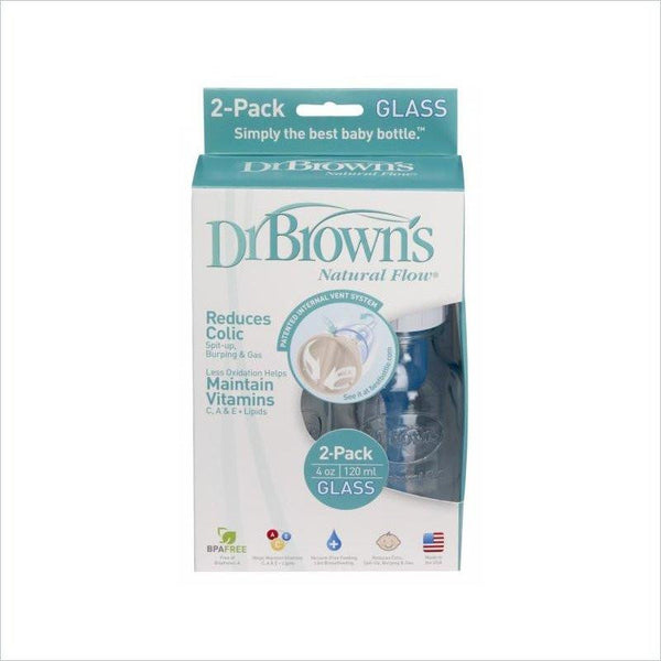 Dr. Brown's Glass  4  Oz Standard Bottle - 2Pk