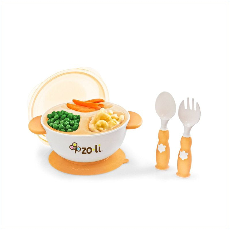 Zoli Stuck suction feeding bowl kit in Orange