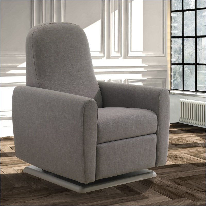 Natart Hannah Glider and Recliner Chair Rounded Back in Charcoal Bonded Leather