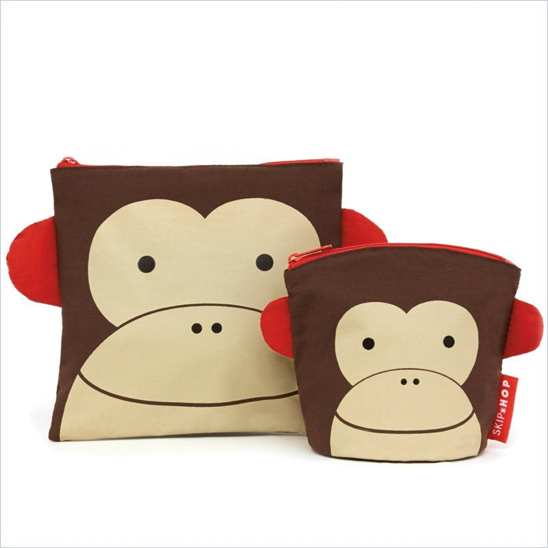 Skip Hop ZOO Reusable Sandwich & Snack Bag Set Monkey