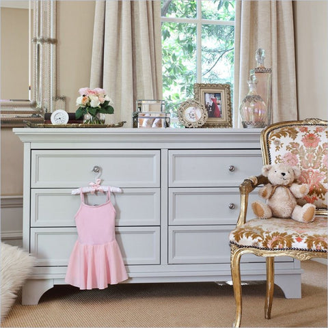 Million Dollar Baby Arcadia Double Dresser in Dove White without Changing tray