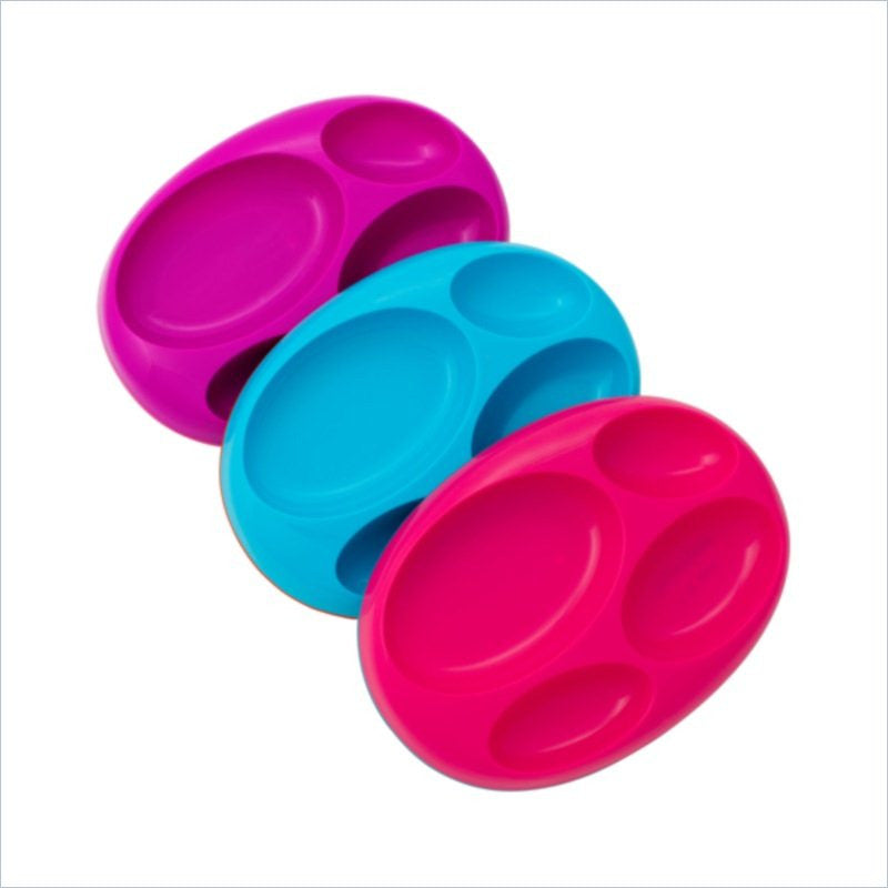 Boon Platter 3 Pack Large Divided Plate Color Set (Pink/Blue/Purple)