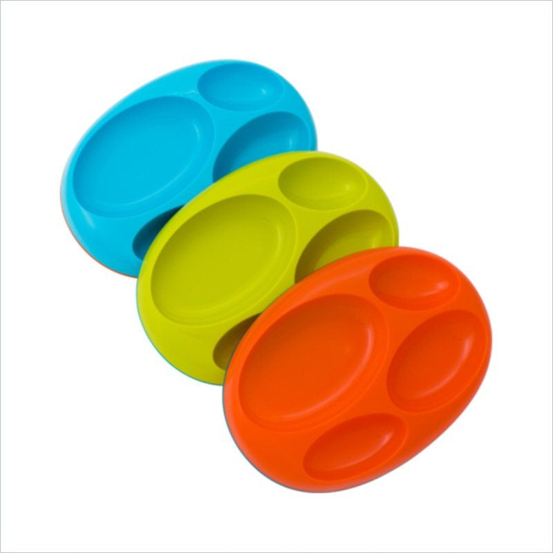 Boon Platter 3 Pack Large Divided Plate Color Set