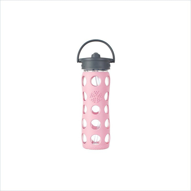 Lifefactory 16 oz Glass Bottle with Straw Cap and Silicone Sleeve in Peony