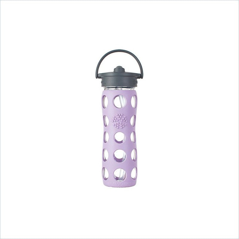 Lifefactory 16 oz Glass Bottle with Straw Cap and Silicone Sleeve in Lilac