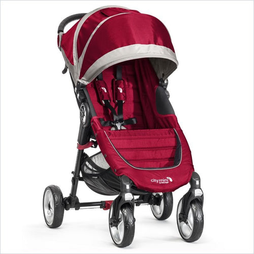 Baby Jogger 2014 City Mini Single 4 Wheel Stroller in Crimson and Gray