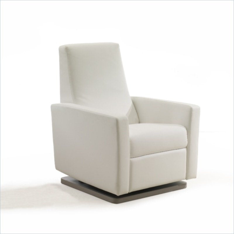 Natart Parker Glider and Recliner Chair in White Bonded Leather