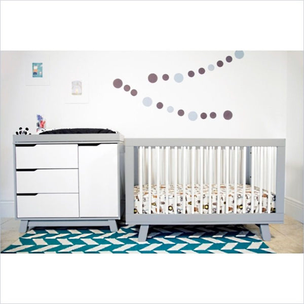 Babyletto Hudson 2 Piece 3-in-1 Convertible Crib Set in Grey/White