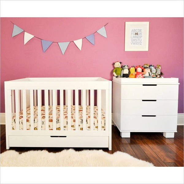 Babyletto Mercer 2 Piece 3 in 1 Convertible Crib Set in White