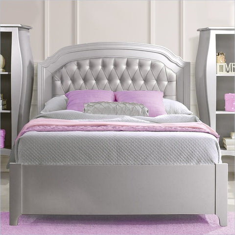 Natart Alexa Double Bed 54 Inch with Low Profile Footboard and Rails in Silver