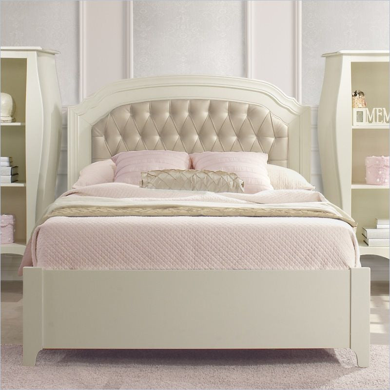 Natart Allegra Double Bed 54 Inch with Low Profile Footboard and Rails in French White