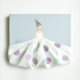 Shenasi Concept Little Princess in Lavender Polkadot Skirt on Grey Background and Black Hair
