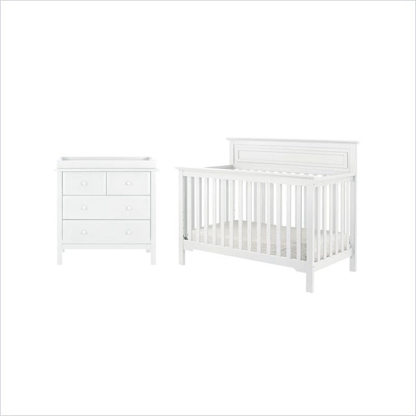 DaVinci Autumn 4-in-1 Convertible Crib and Dresser Set in White