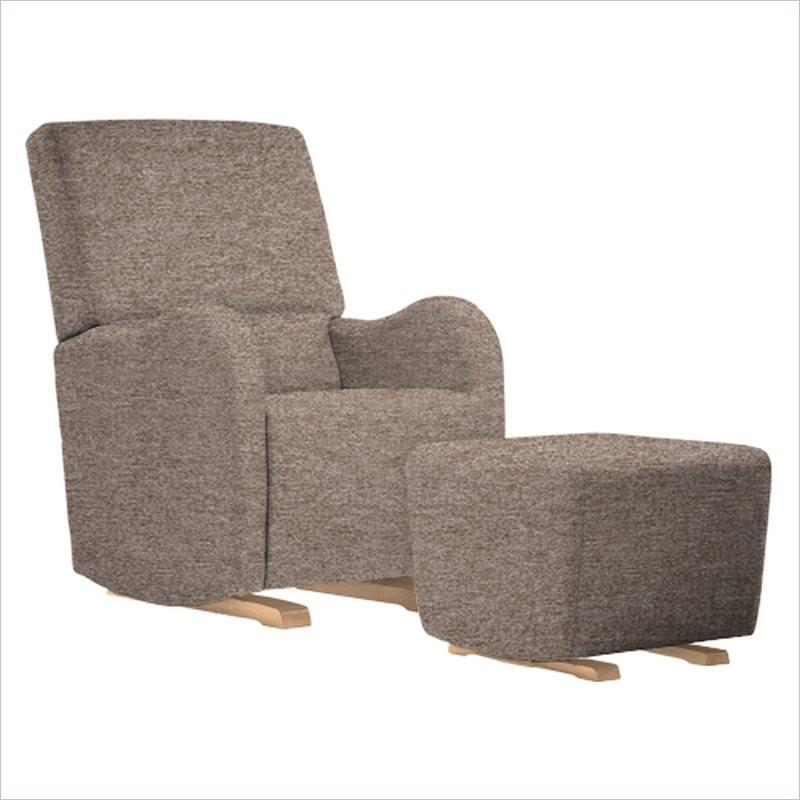 Dutailier Laki Upholstered Natural Glider Chair in Bread