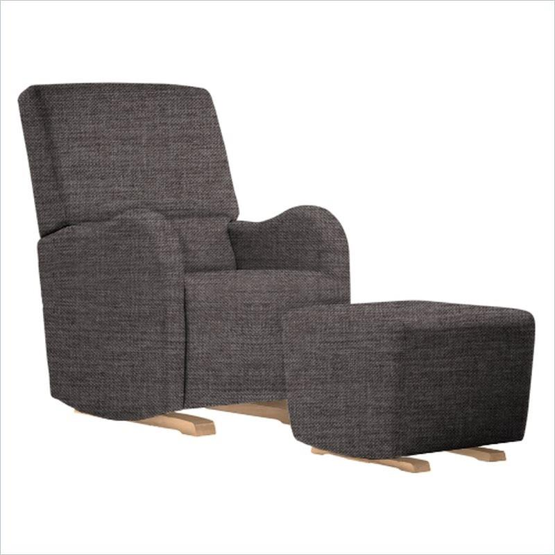 Dutailier Laki Upholstered Natural Glider Chair in Pebble