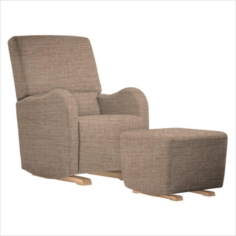 Dutailier Laki Upholstered Natural Glider Chair in Wheat
