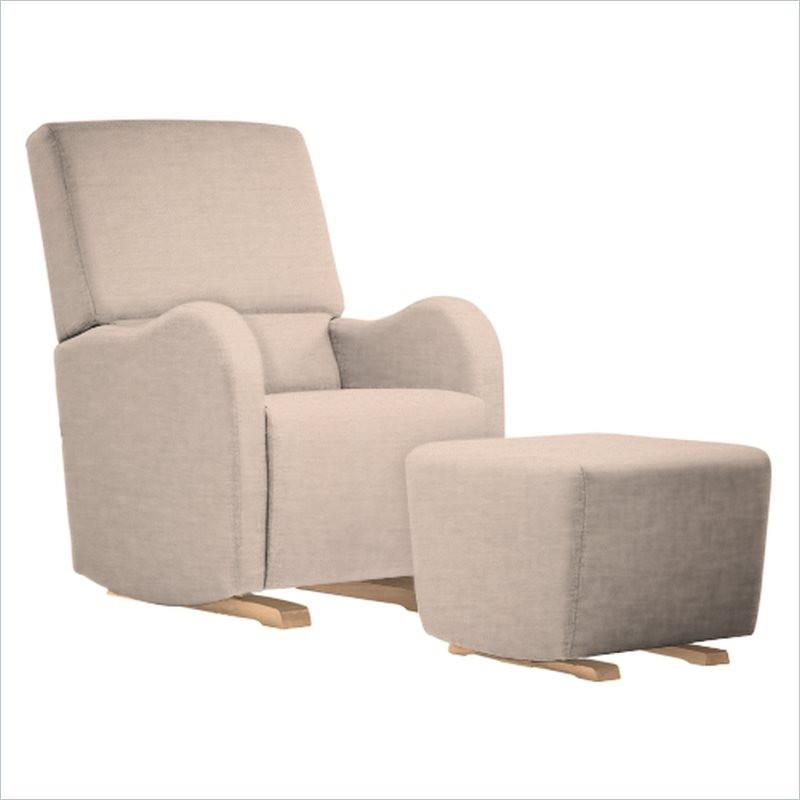 Dutailier Laki Upholstered Natural Glider Chair in Cream