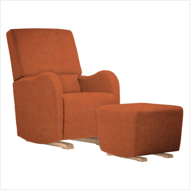 Dutailier Laki Upholstered Natural Glider Chair in Orange