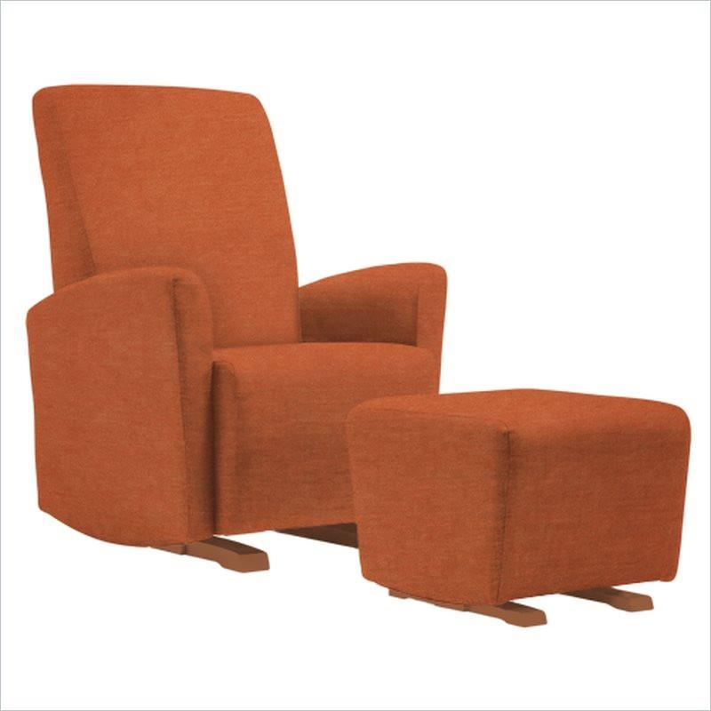 Dutailier Pico Upholstered Harvest Glider Chair in Orange