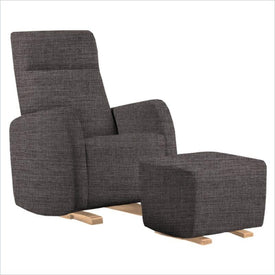 Dutailier Etna Upholstered Natural Glider Chair in Pebble