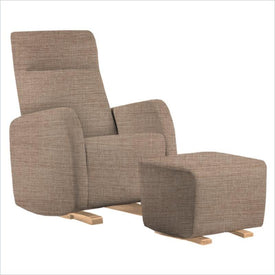 Dutailier Etna Upholstered Natural Glider Chair in Wheat