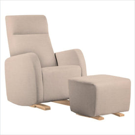 Dutailier Etna Upholstered Natural Glider Chair in Cream