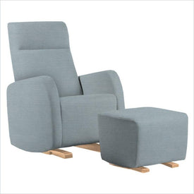 Dutailier Etna Upholstered Natural Glider Chair in Blue