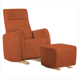 Dutailier Etna Upholstered Natural Glider Chair in Orange