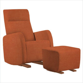 Dutailier Etna Upholstered Harvest Glider Chair in Orange