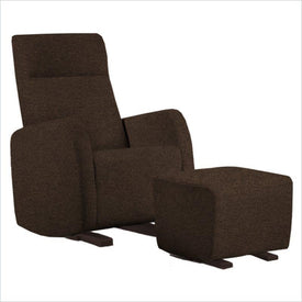 Dutailier Etna Upholstered Espresso Glider Chair in Chocolate