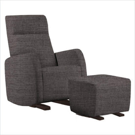 Dutailier Etna Upholstered Espresso Glider Chair in Pebble