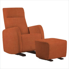 Dutailier Etna Upholstered Espresso Glider Chair in Orange