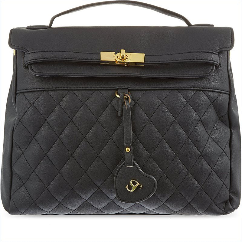 ST Girls Black Beverley Quilted Leather Bag in Black